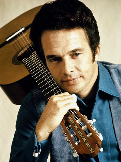 Merle Haggard shown in his younger days.